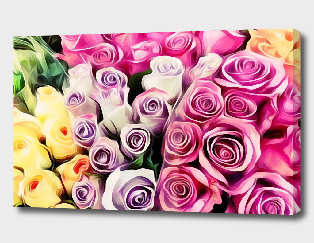 closeup rose texture in pink purple and yellow