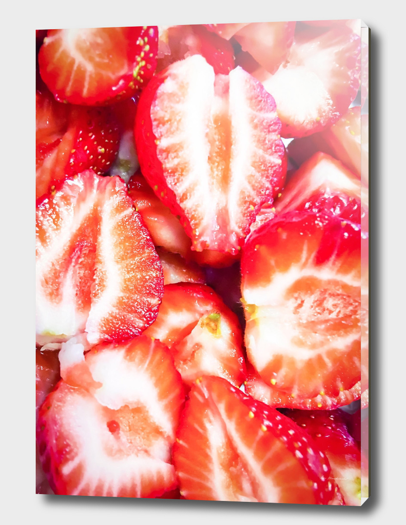 fresh chopped strawberries texture background