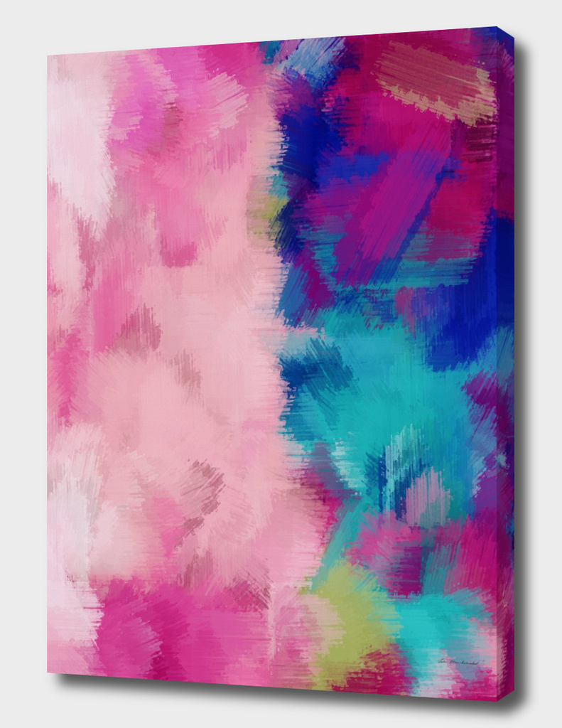 pink dark blue red and blue painting