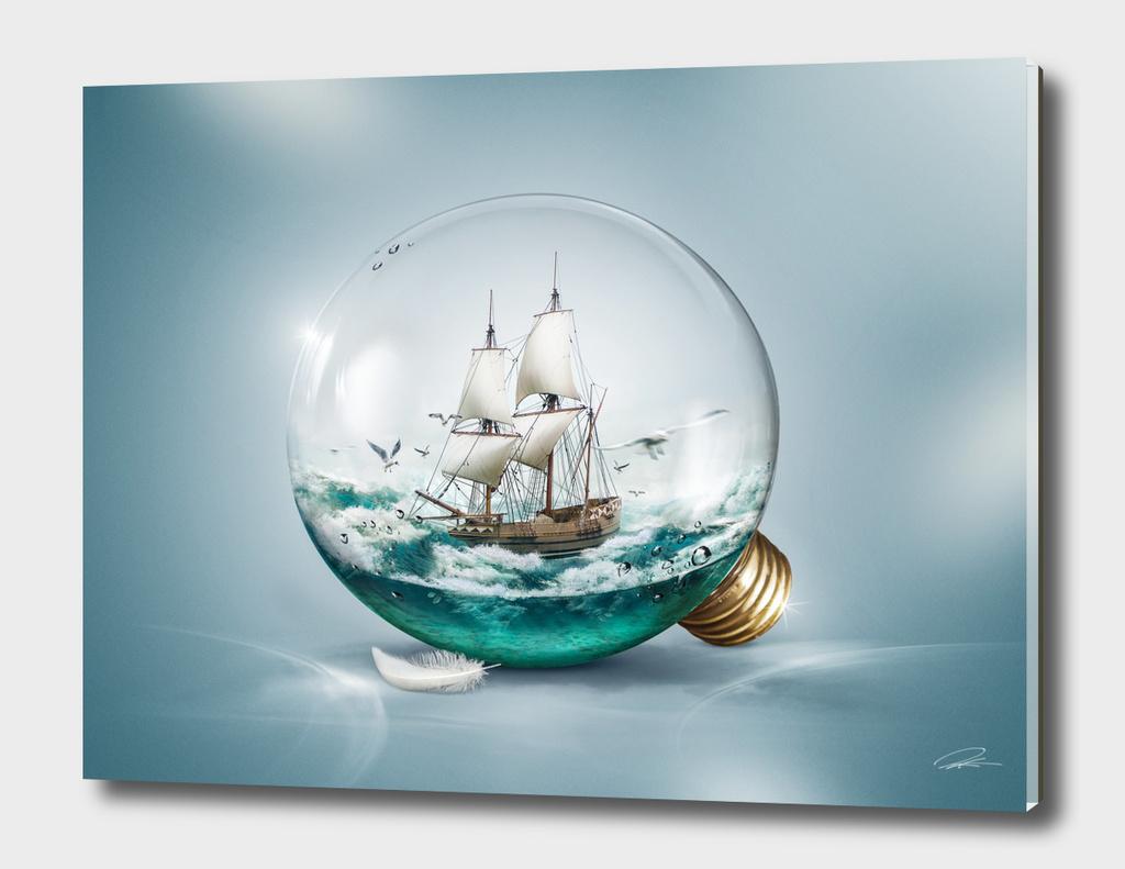 Sailer in a light bulb