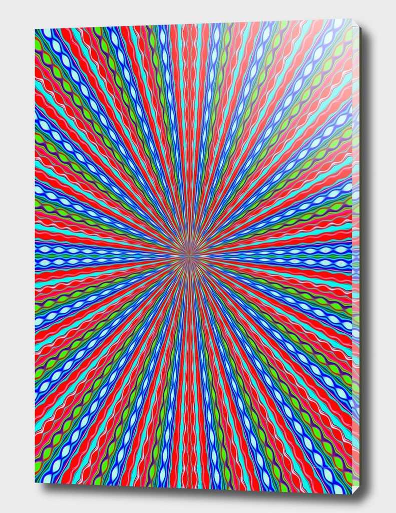 psychedelic geometric graffiti abstract in red blue green