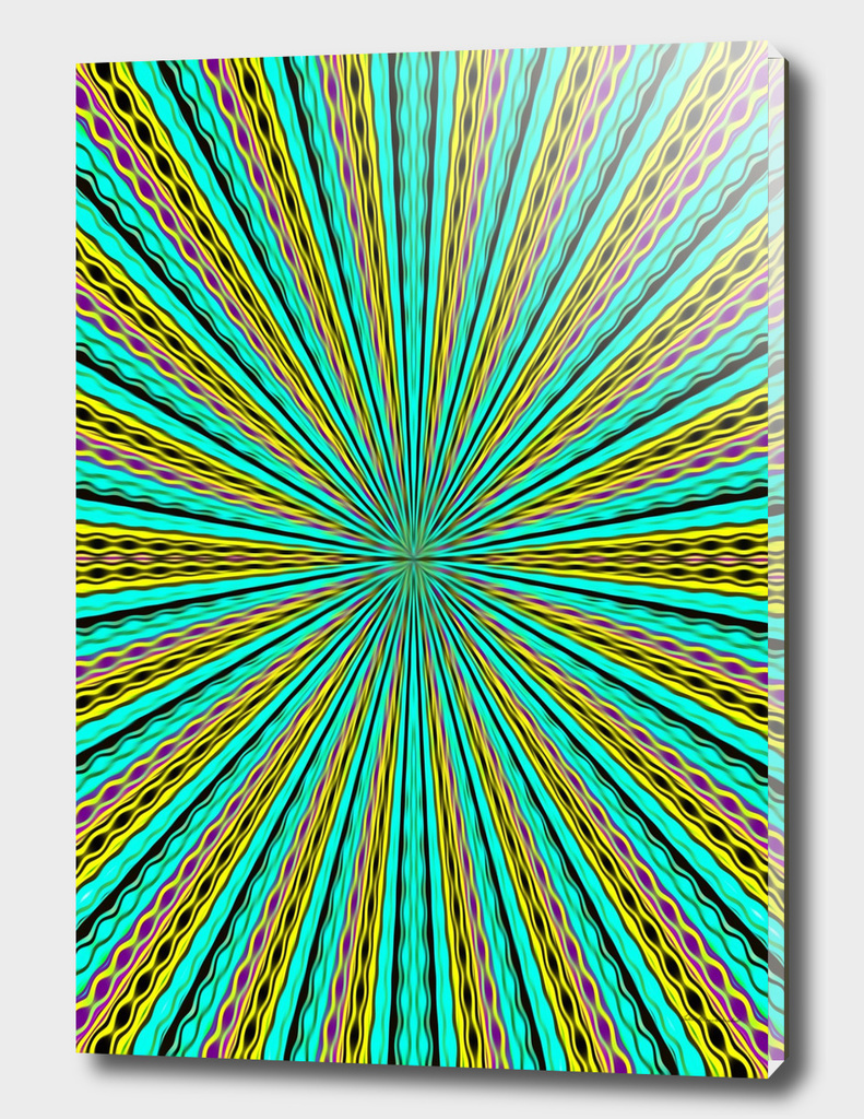 psychedelic geometric graffiti abstract in green and yellow