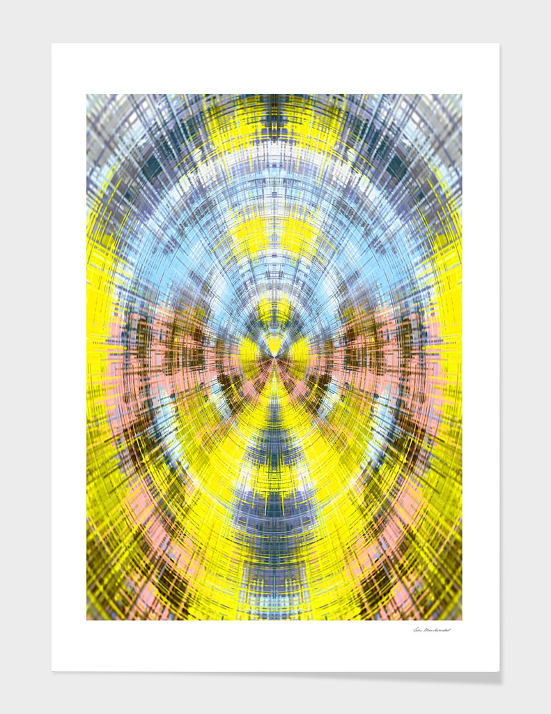 psychedelic geometric abstract pattern in yellow blue pink