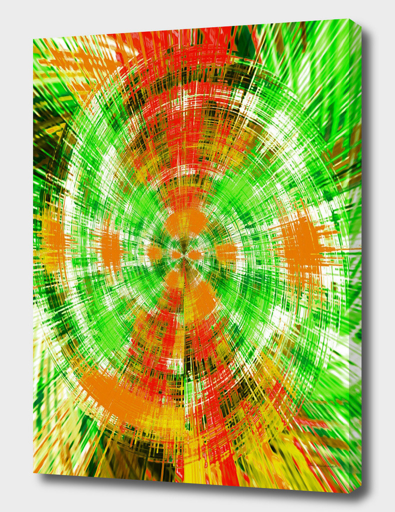 psychedelic geometric abstract pattern in green orange brown