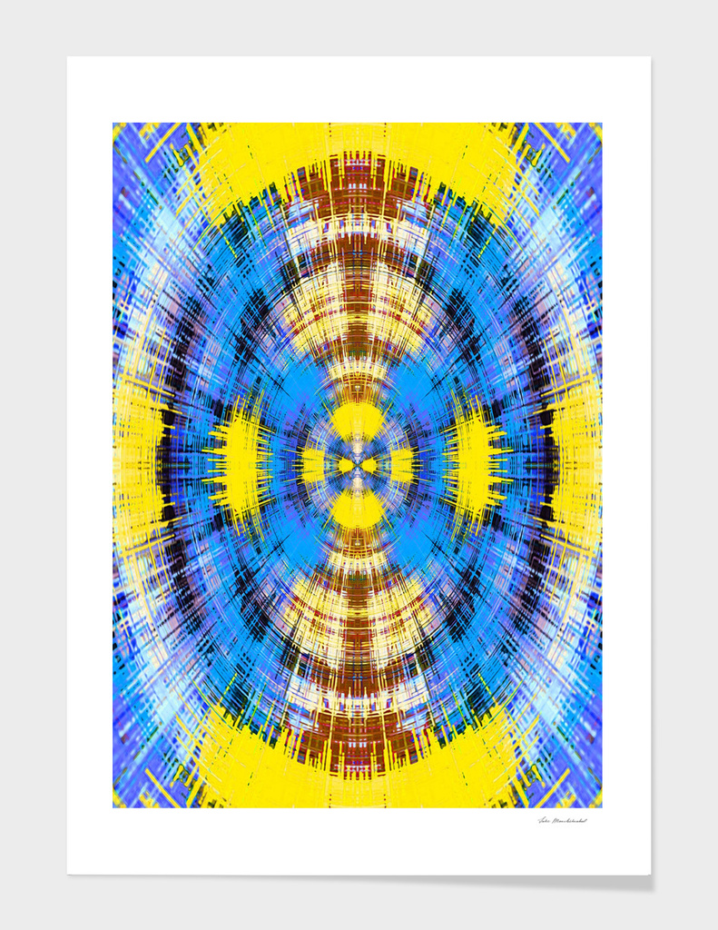 blue yellow and brown circle plaid pattern