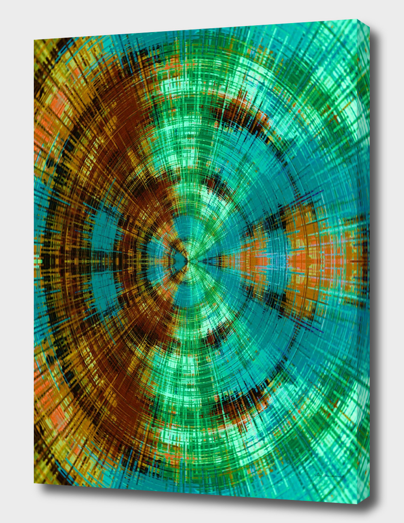green brown orange and blue circle plaid pattern background