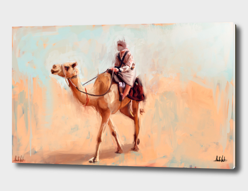Man riding camel in the desert