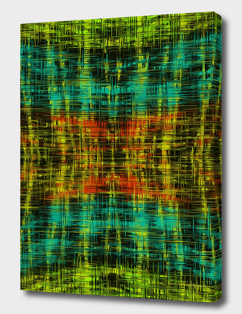orange blue yellow and green line pattern
