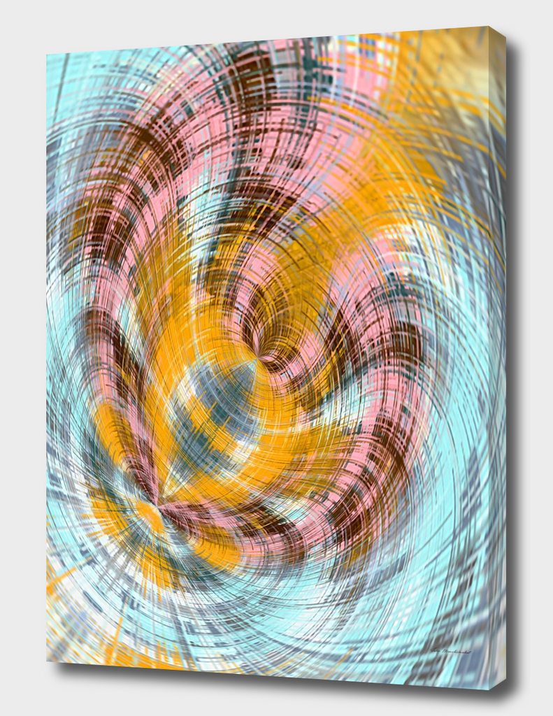 pink yellow and blue spiral drawing abstract background