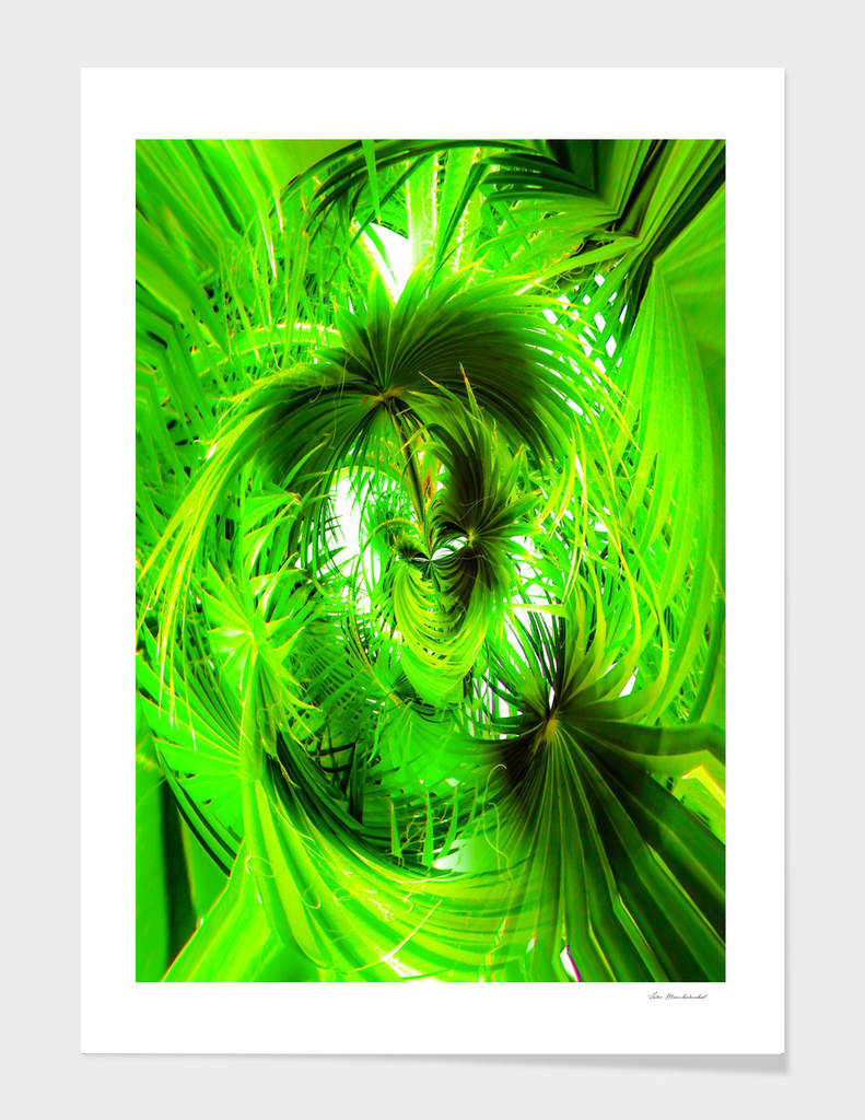 spiral green leaves texture abstract background