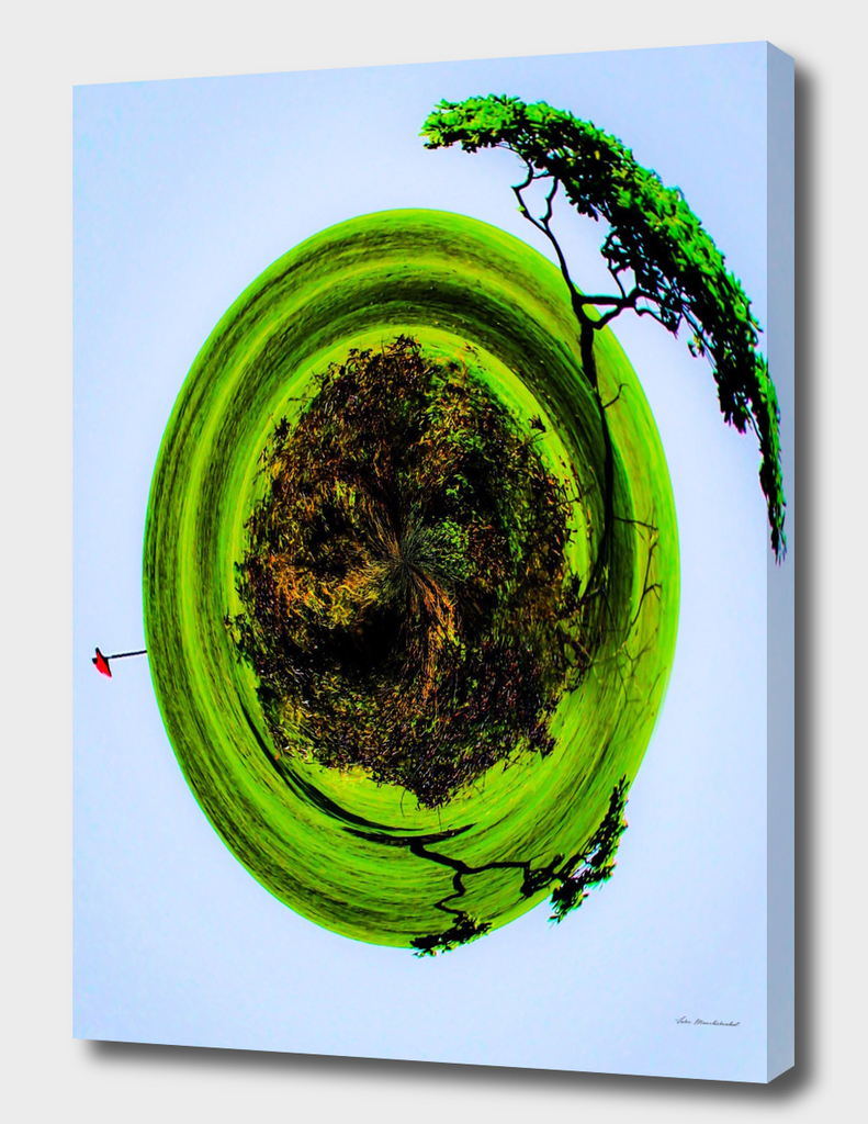 golf course with trees and blue sky in small planet style