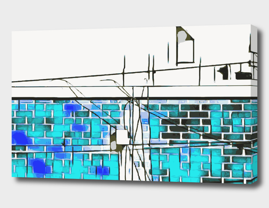 blue and dark blue brick building