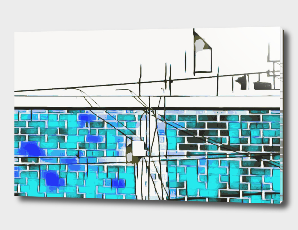 blue and dark blue brick building