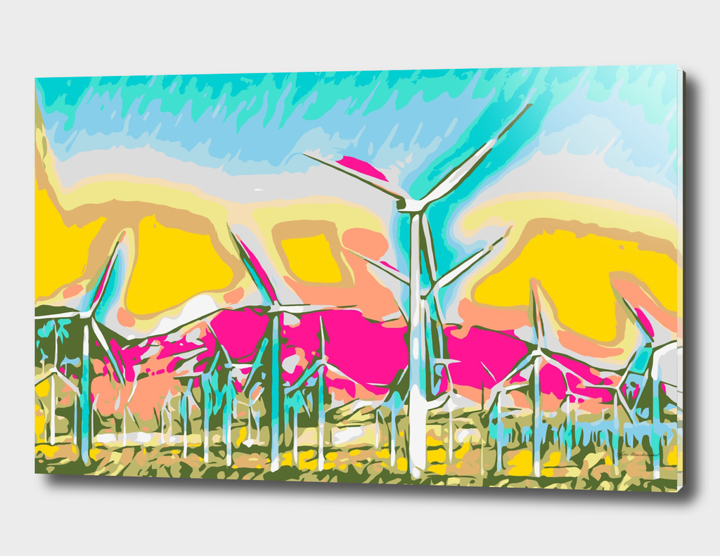 wind turbine in the desert with mountain background