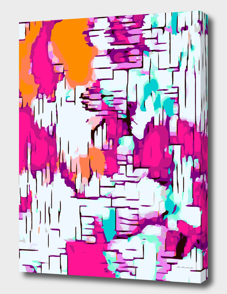 pink orange and green drawing abstract background