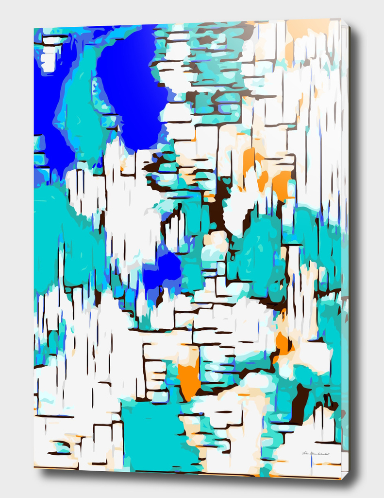 blue green and orange drawing abstract