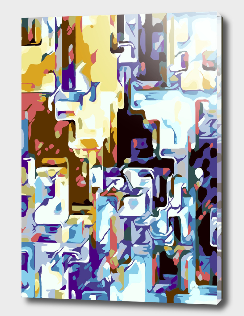 brown pink yellow blue and purple geometric abstract