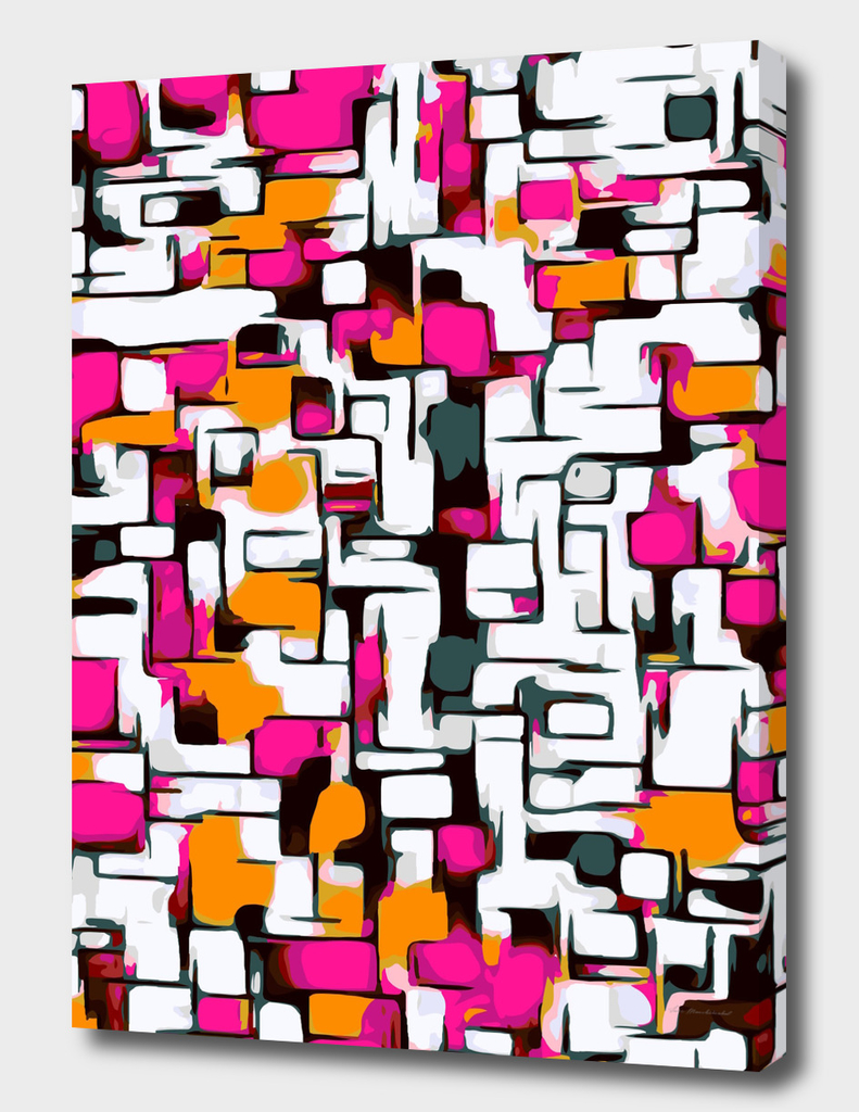 pink orange and black lines drawing abstract