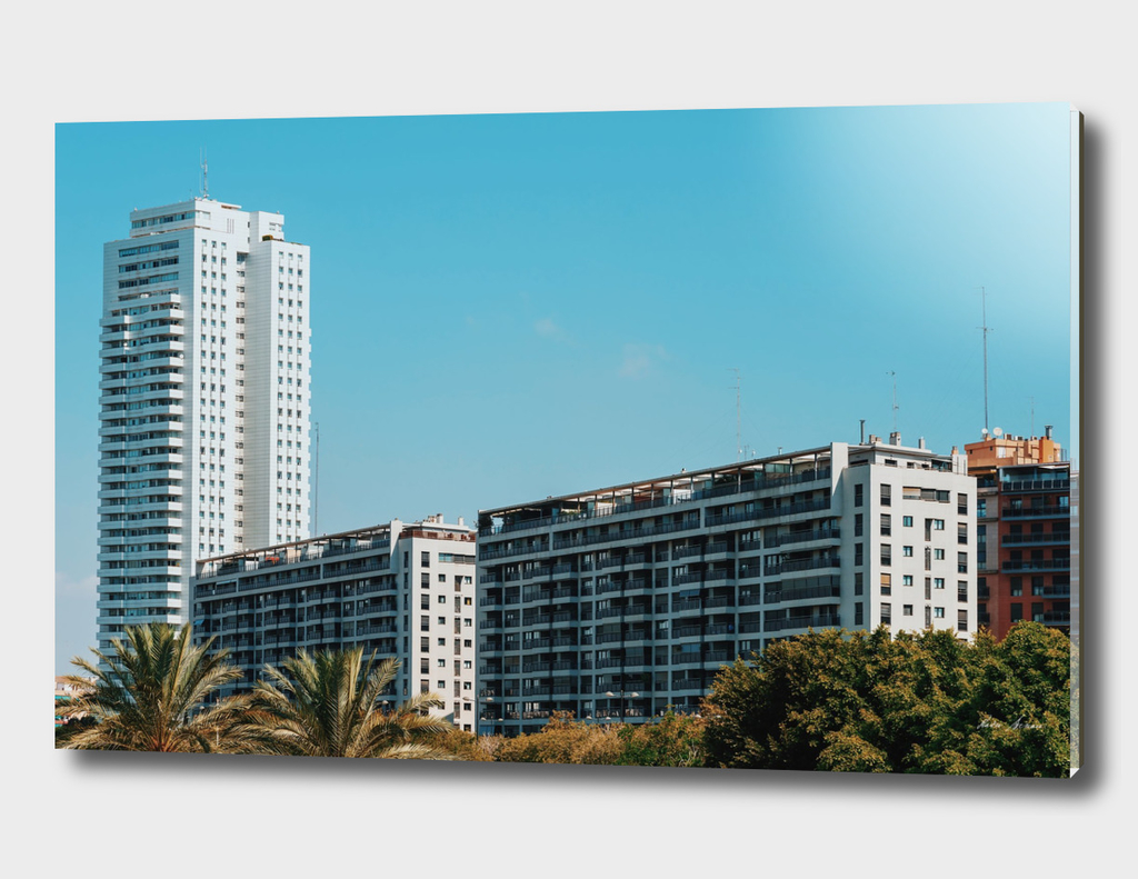 Valencia City Skyline Buildings In Summer