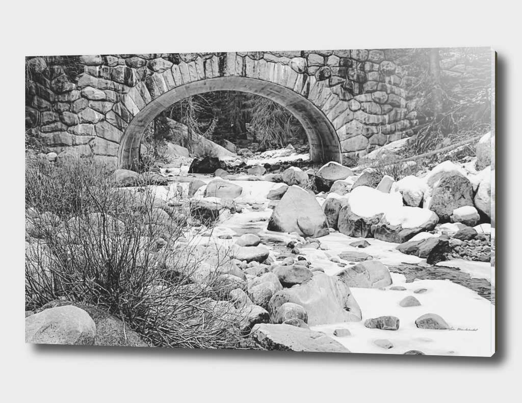 river covered with snow in black and white
