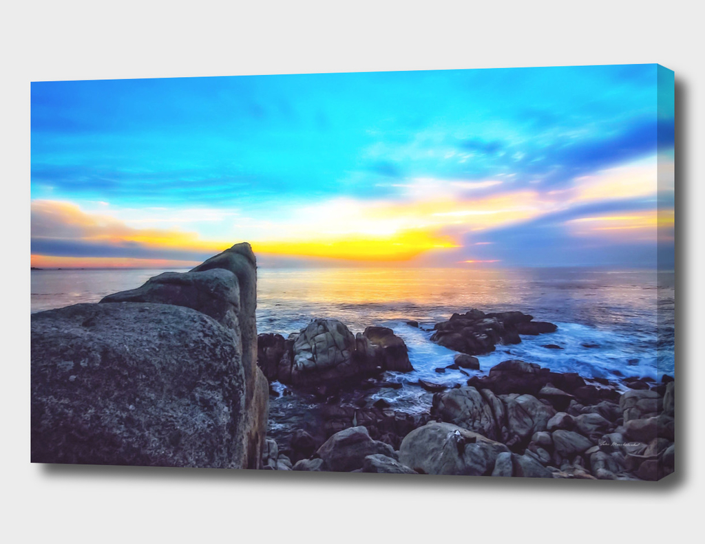 ocean sunset view with beautiful blue cloudy sky