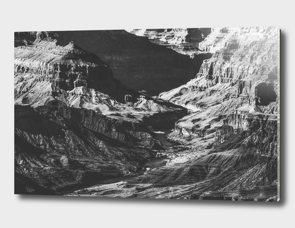 texture of the desert at Grand Canyon in black and white