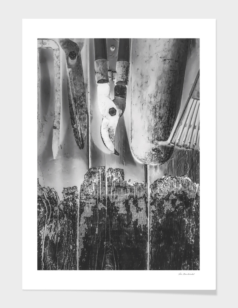 gardening tools in black and white