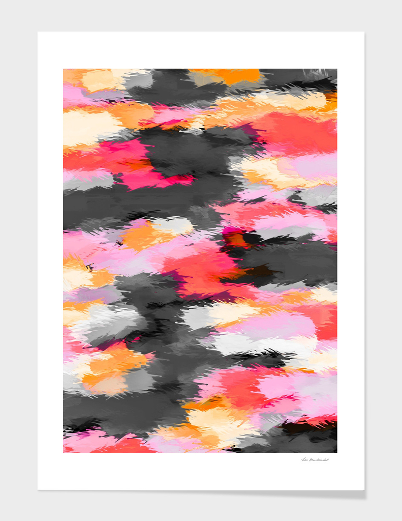 pink orange psychedelic splash painting texture abstract