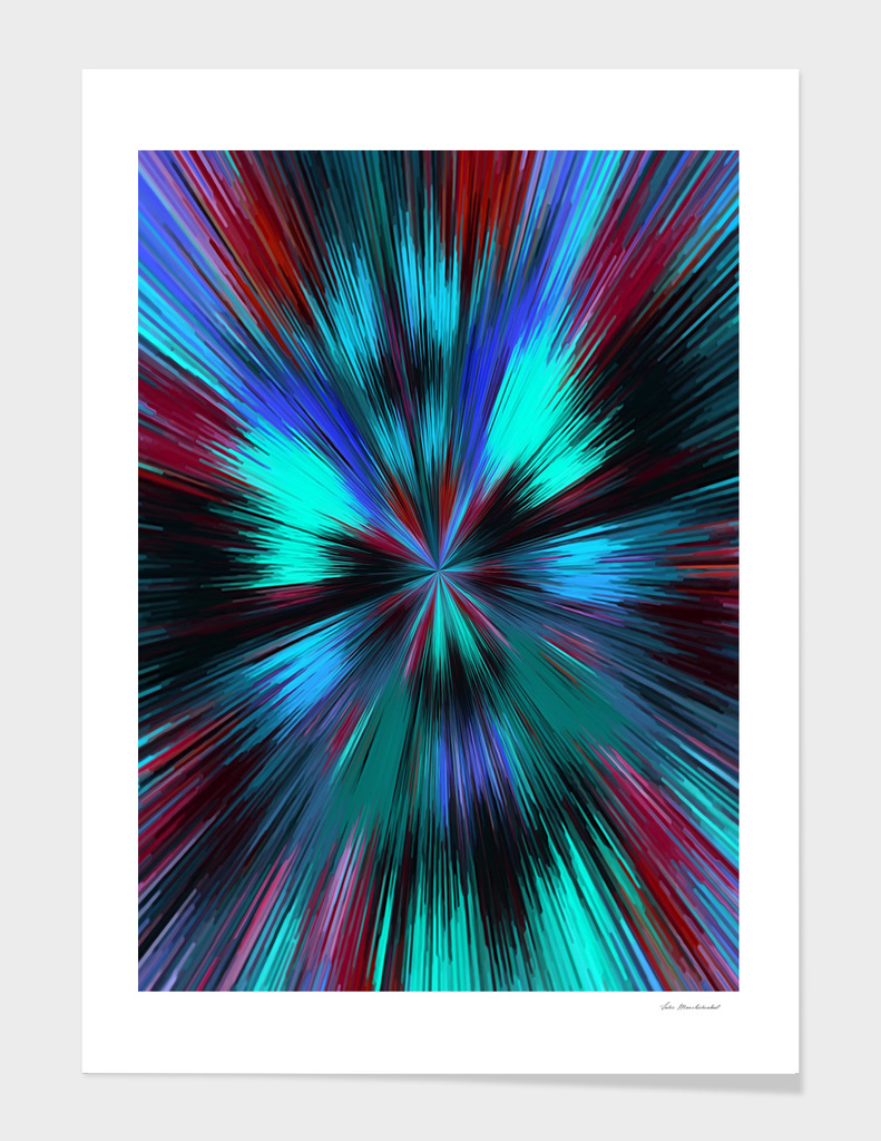psychedelic geometric graffiti abstract in blue green brown
