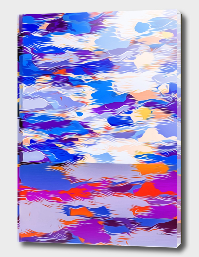 psychedelic splash painting abstract in blue purple orange