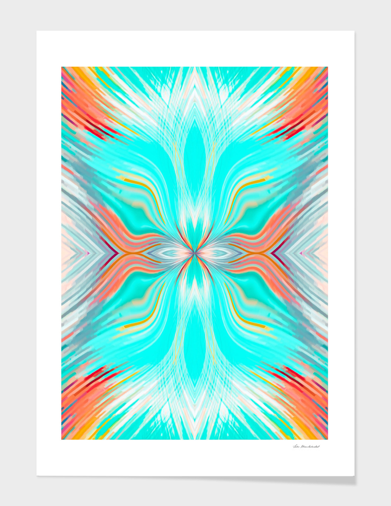psychedelic geometric graffiti abstract in blue and orange