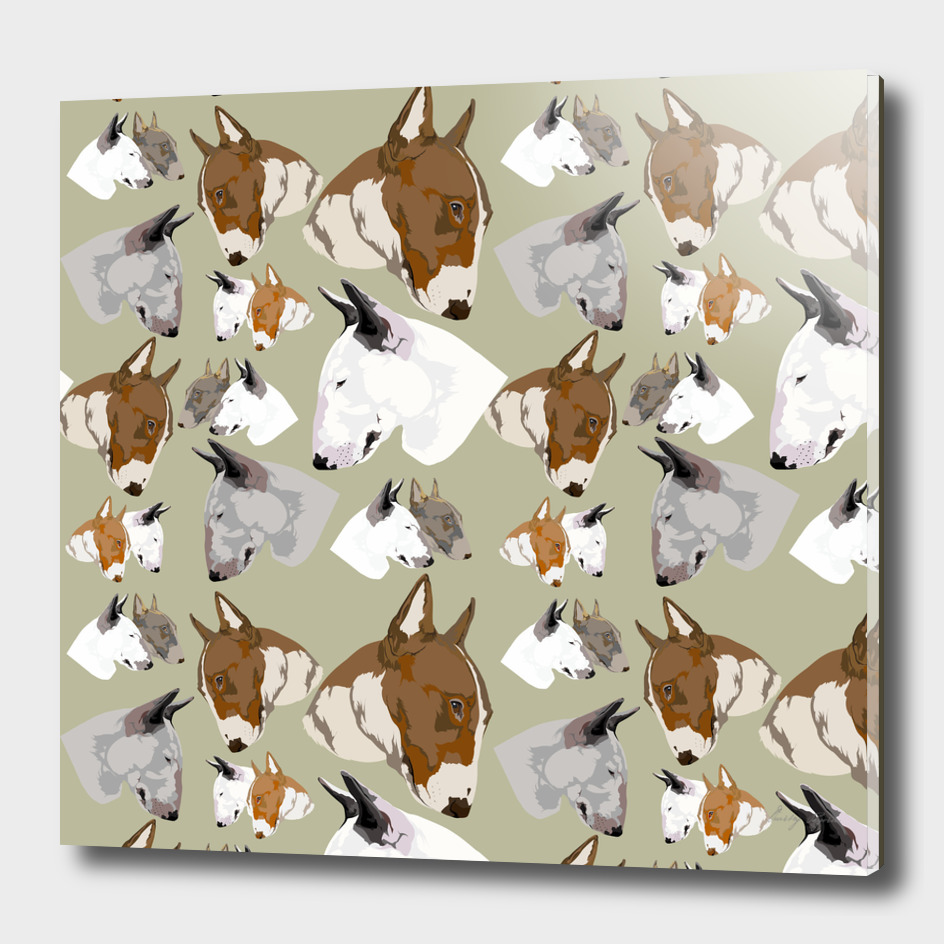 Seamless pattern English bullterrier head