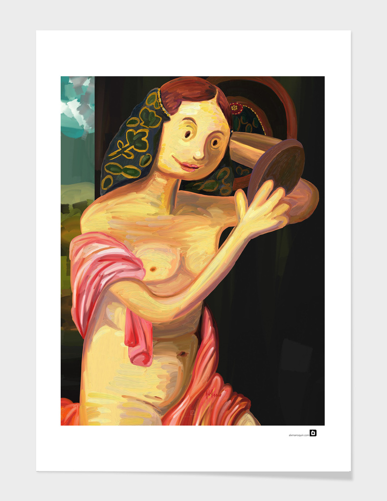 A Small Painting of Naked Young Woman in Front of the Mirror