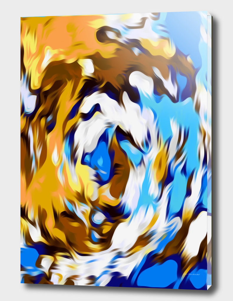 yellow brown and blue spiral painting texture