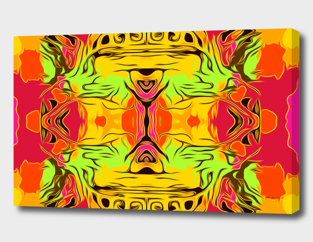 skull head with yellow green red and orange background