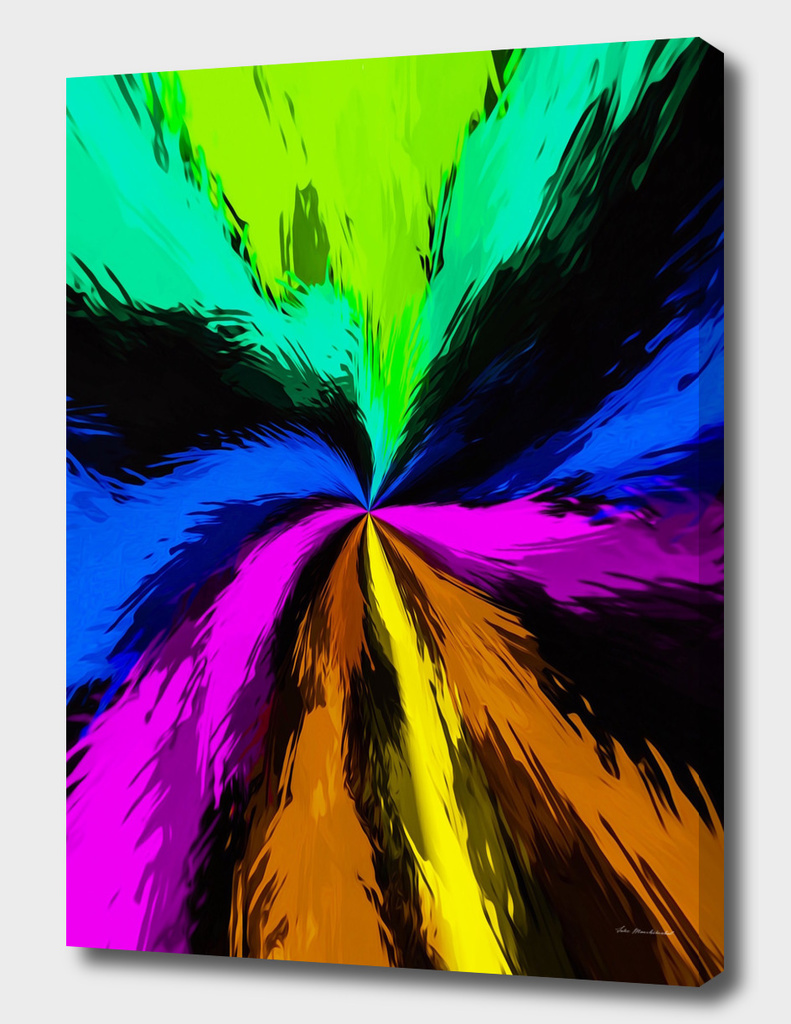 pink blue yellow brown and black spiral painting