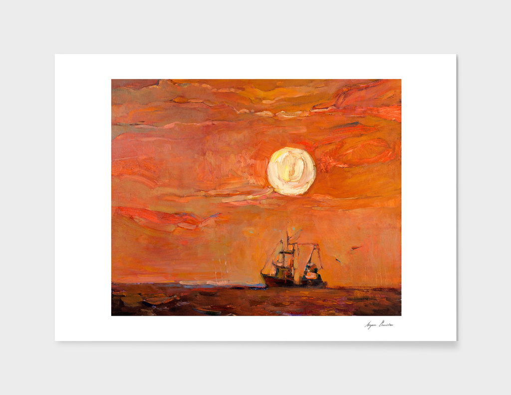 Fishing boat and moon