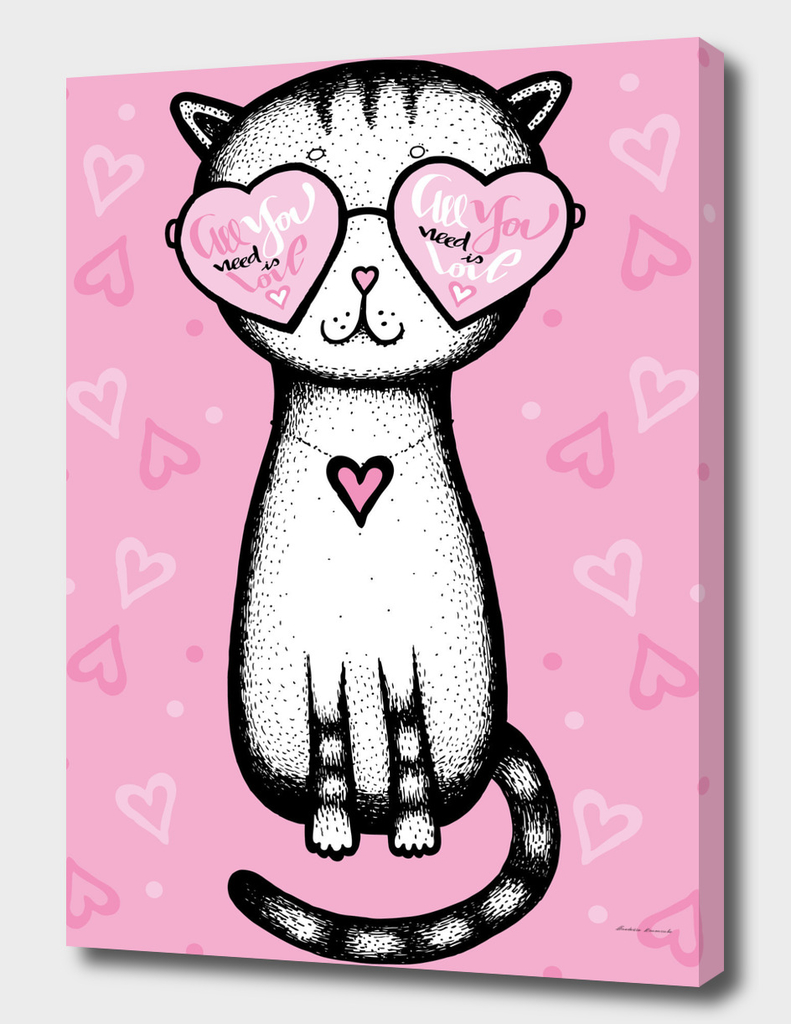 All you need is love - cat glasses heart