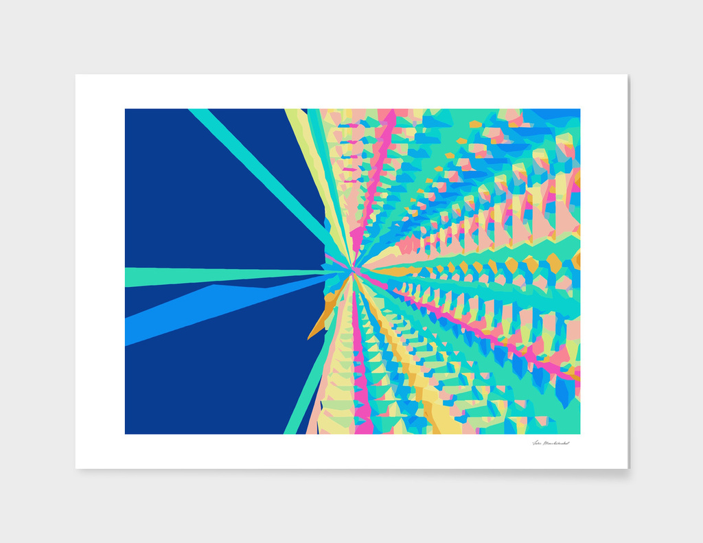 splash geometric pattern abstract in blue green pink yellow