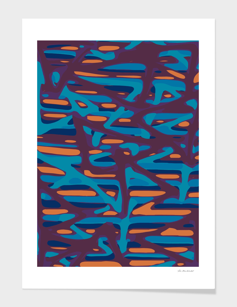 blue purple and orange painting abstract background