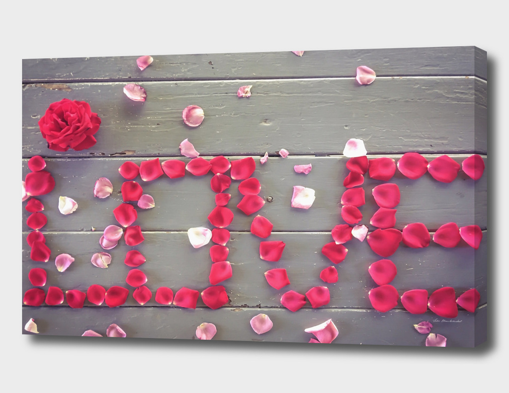 LOVE alphabet with red and pink rose leaves