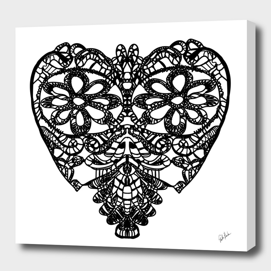 Crochet black heart