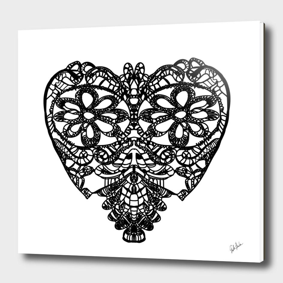 Crochet black heart