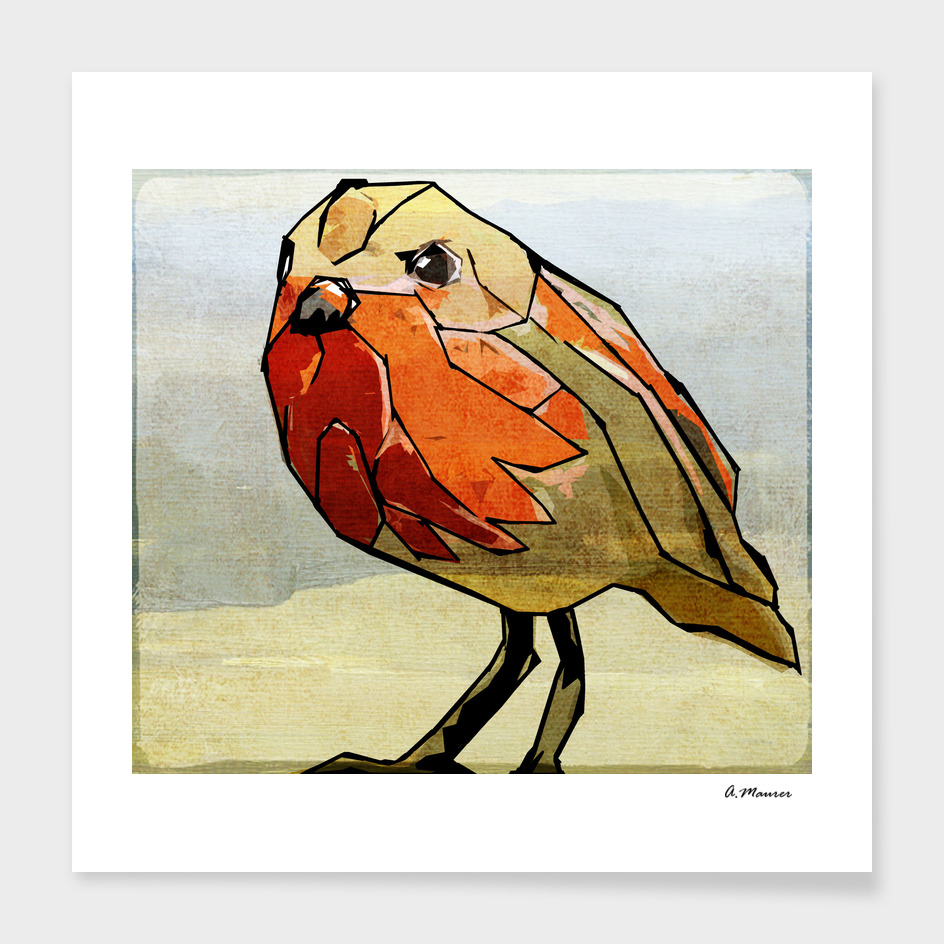 Modern Digital Pop Art Bird in Red