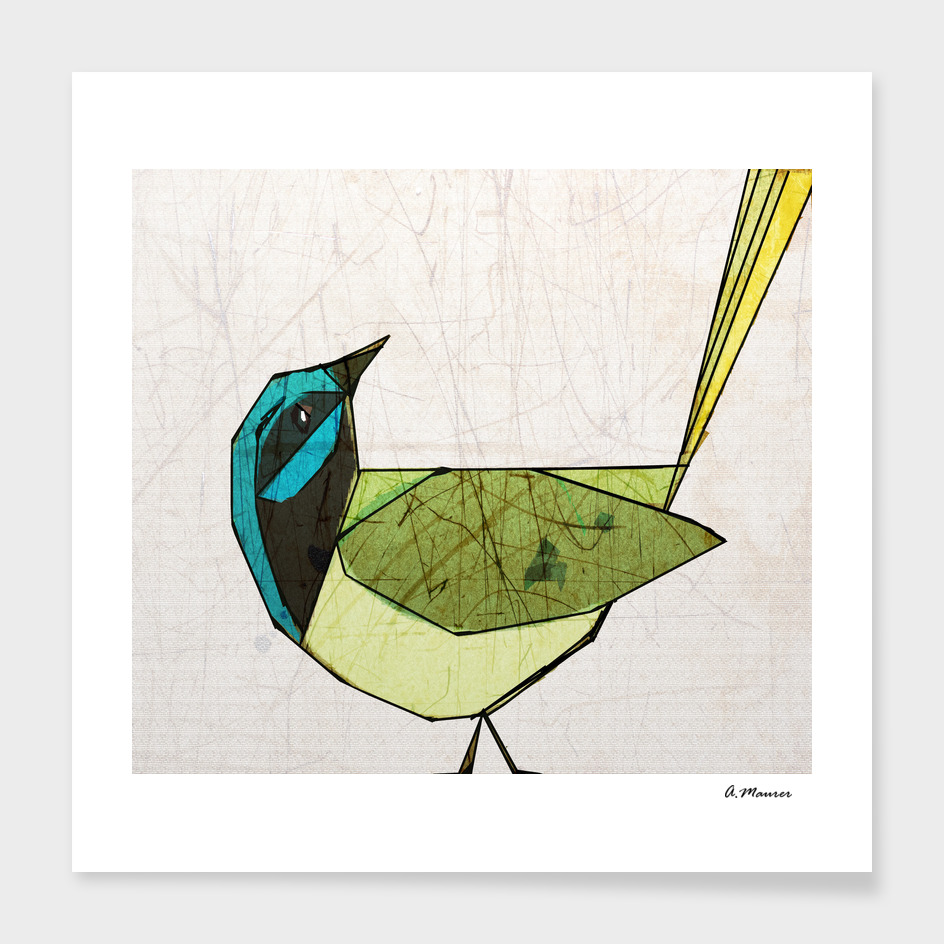 Modern Pop Art Bird in Green