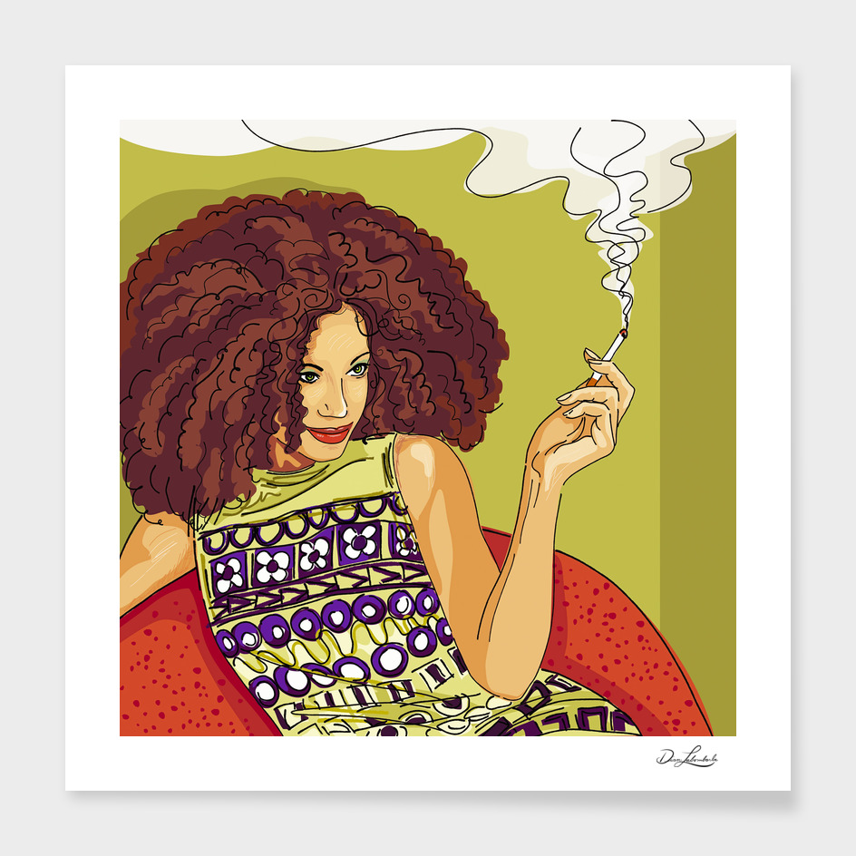 Smoking Woman - Green Wall