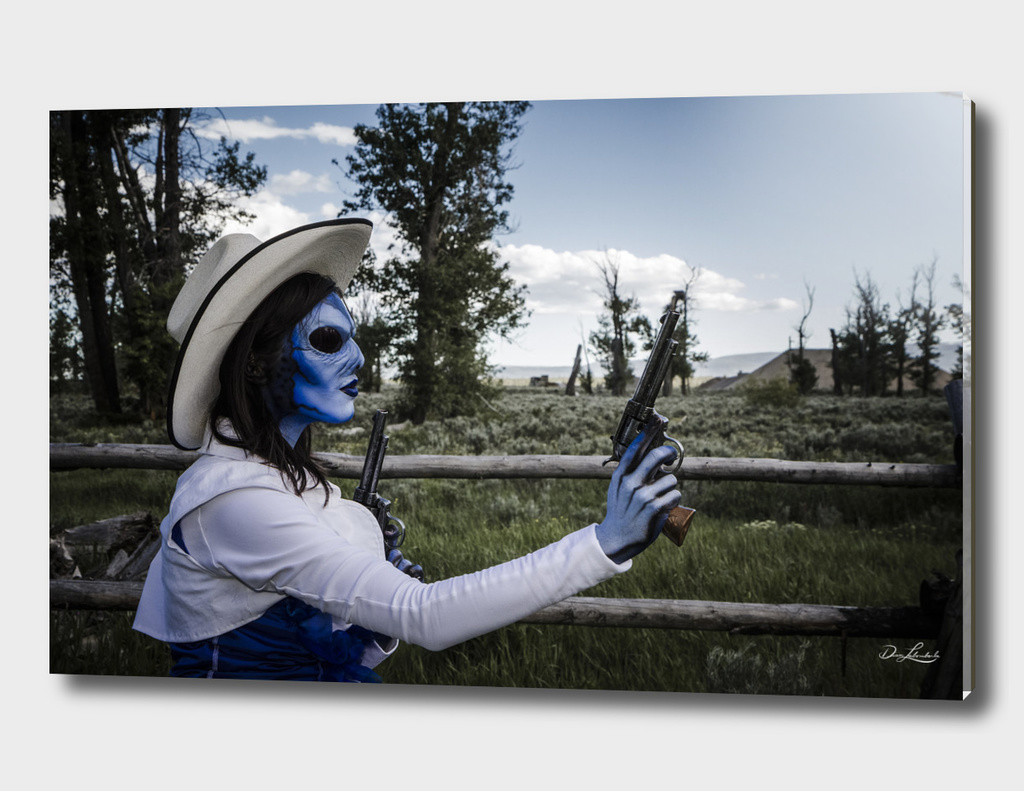 Gunslinging Blue Alien Cowgirl