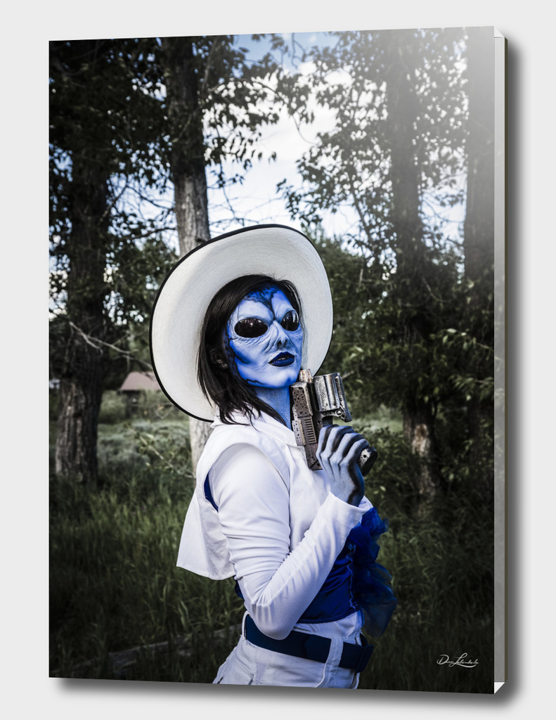 Blue Alien Cowgirl With Pistol at Night