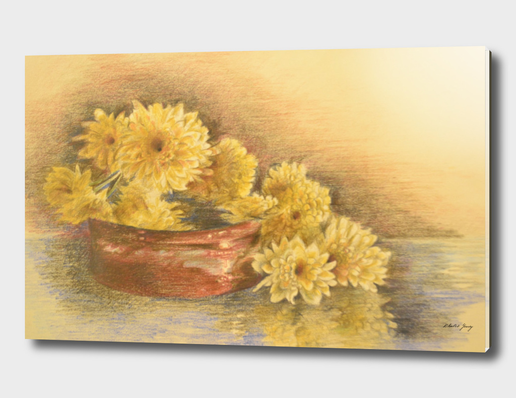 yellow flowers with still life