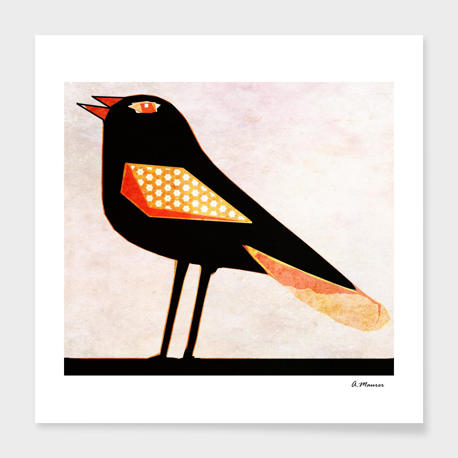 Modern Digital Pop Art Blackbird